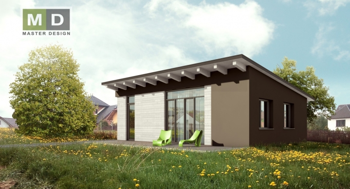 Jednopodlažní rodinný dům s pultovou střechou