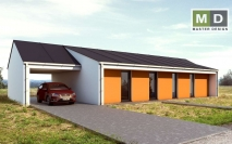 Přízemní dům s oranžovým obkladem