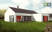 projekty - Přízemní dům se sedlovou střechou a garáží